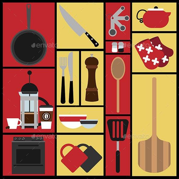 Set of 15 Kitchen Illustrations