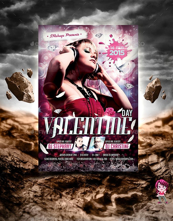 Valentine Day Flyer Template - Clubs & Parties Events