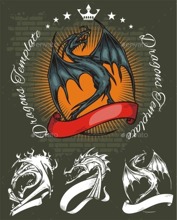 Dragon and Ribbons - Decorative Symbols Decorative