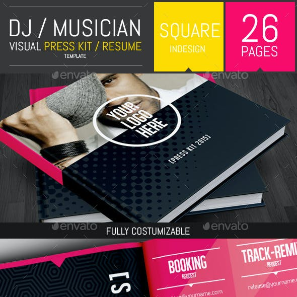 Dj and Musician Visual Press Kit / Resume Template