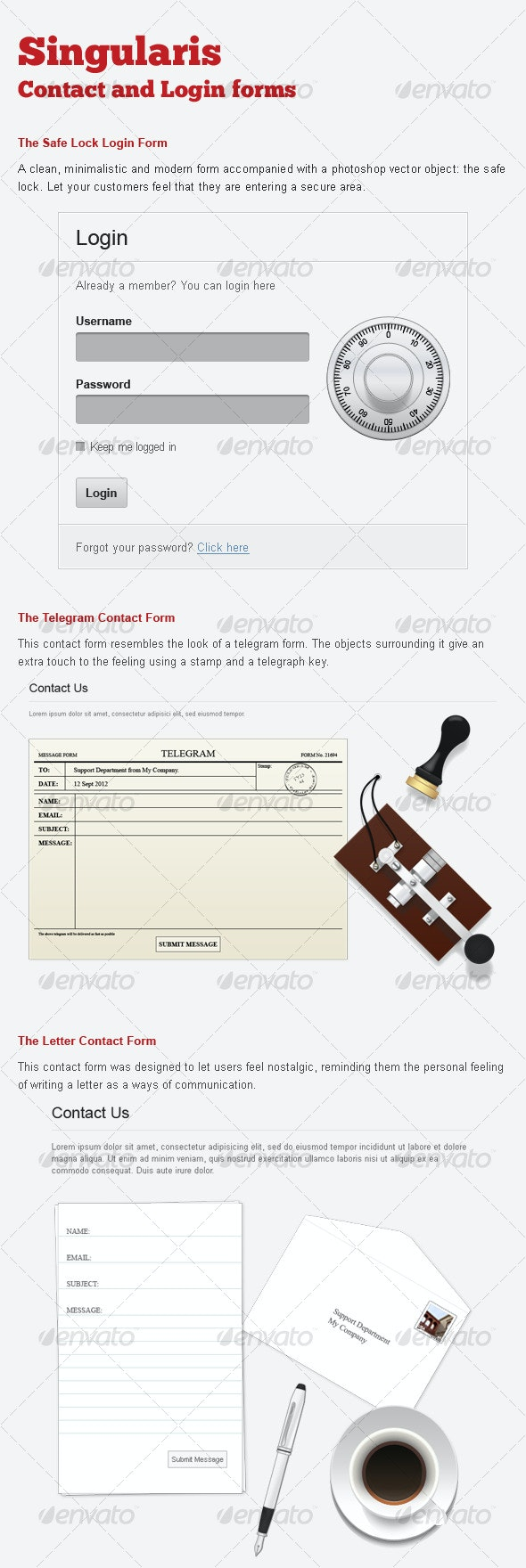 Singularis Webforms Contact Forms and Login Form - Forms Web Elements