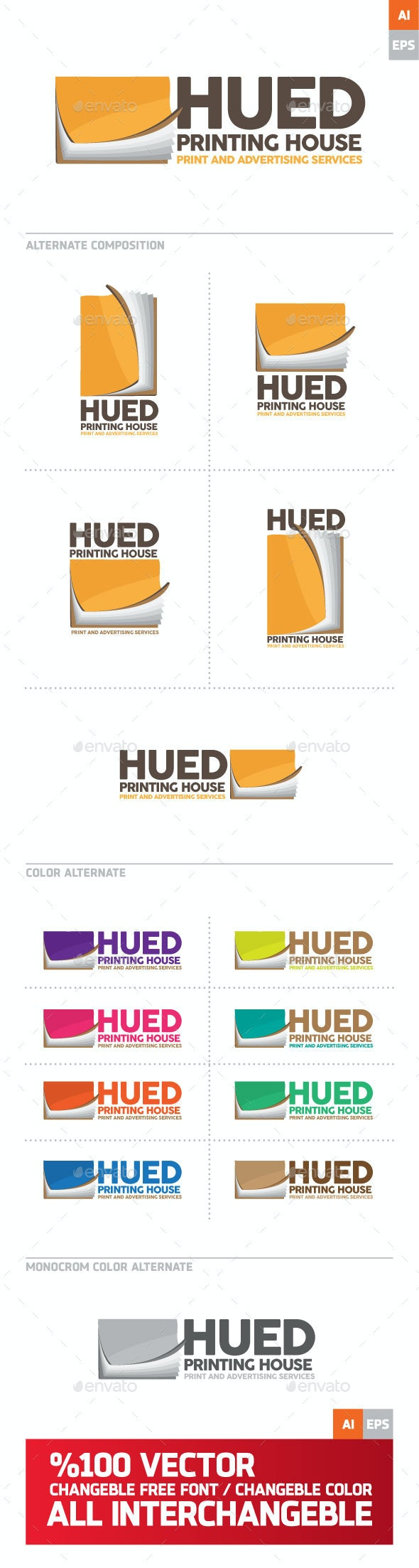 Hued Printing House Logo - Objects Logo Templates