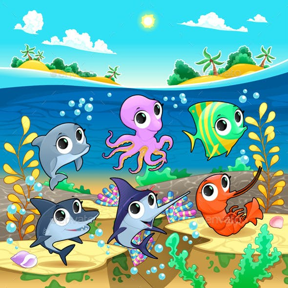 Marine Animals in the Sea