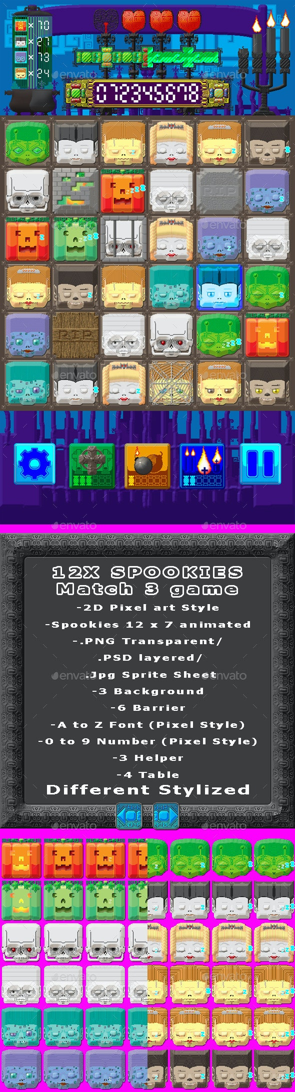 12X Spookies Match 3 Game - Game Kits Game Assets