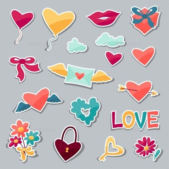 Set of Valentine's and Wedding Stickers