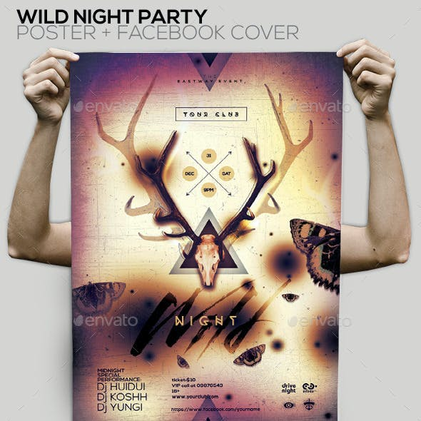 Wild Night Party Flyer/Poster/Facebook Cover