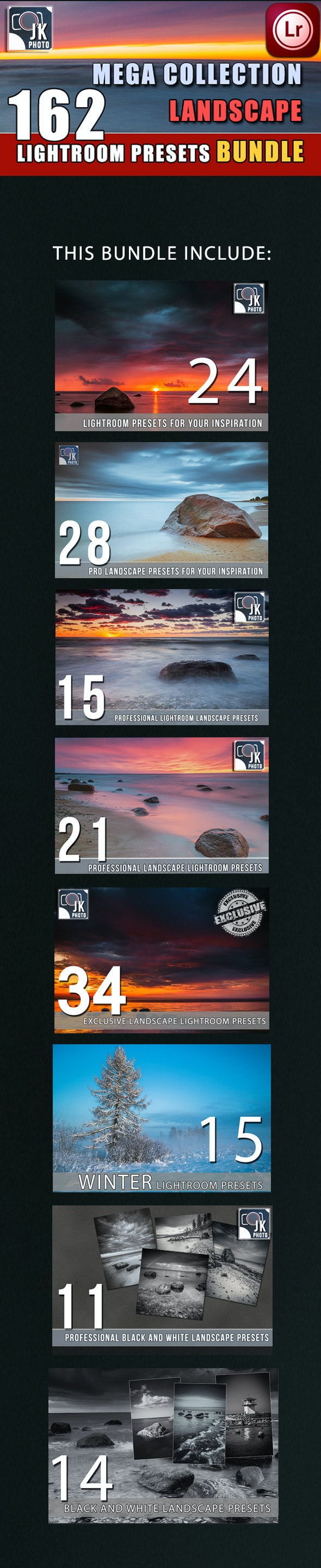 162 LightRoom Landscape Presets Bundle - Landscape Lightroom Presets