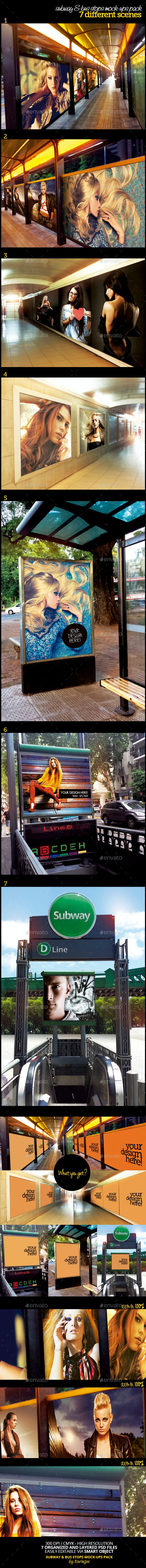 Subway & Bus Stops Mock-Ups Template Pack - Product Mock-Ups Graphics
