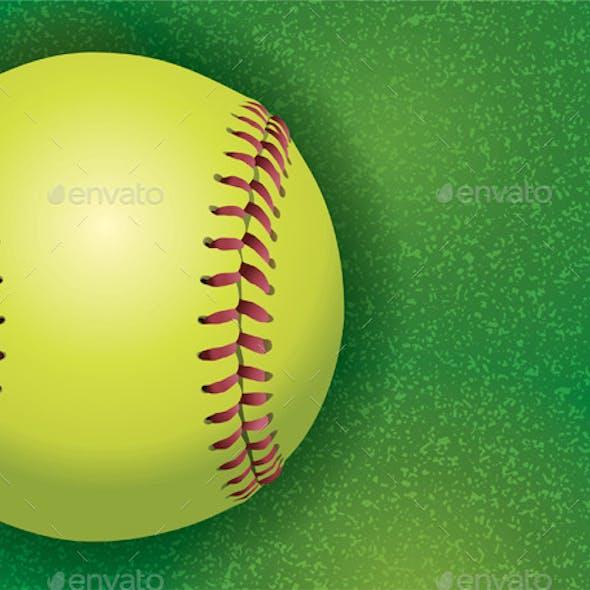 Softball on a Textured Grass Field