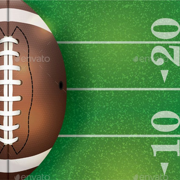 American Football Ball and Field