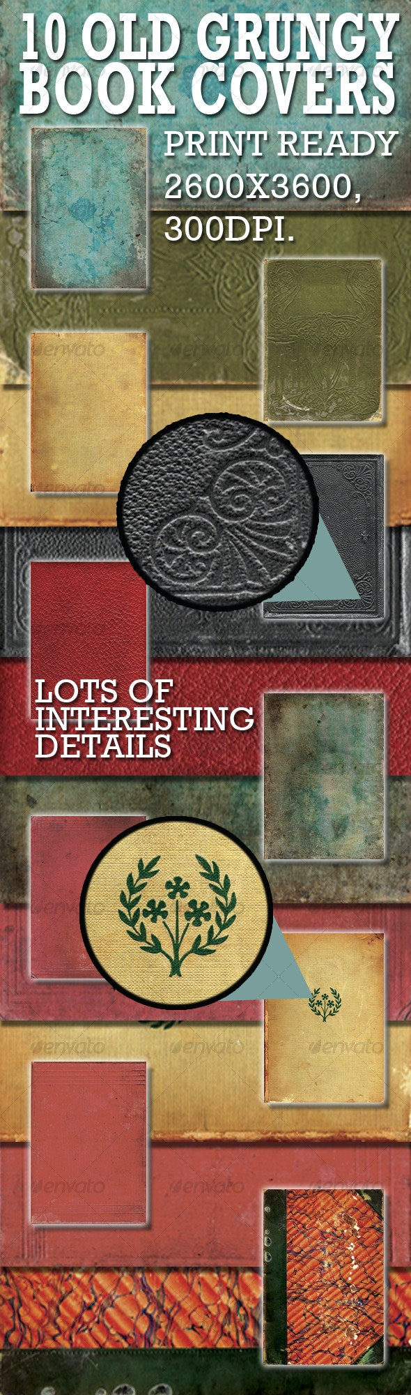 10 old book covers. Hi res Jpegs.  - Paper Textures