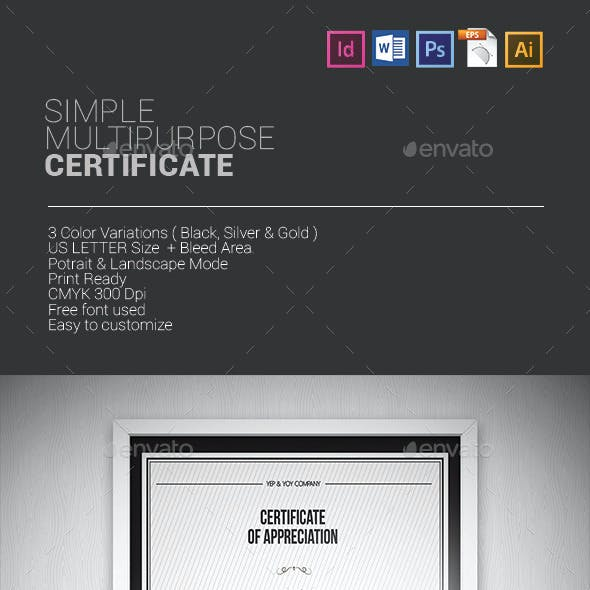 Simple Multipurpose Certificates
