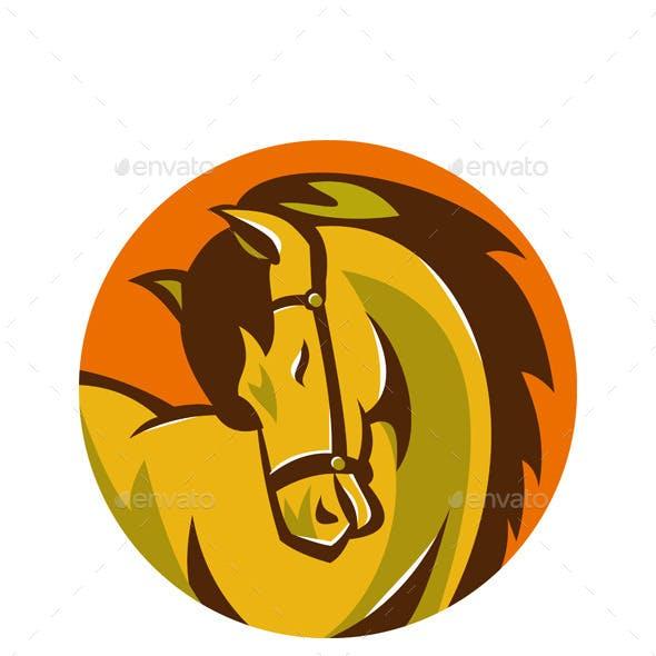 Horse Stallion Head Retro