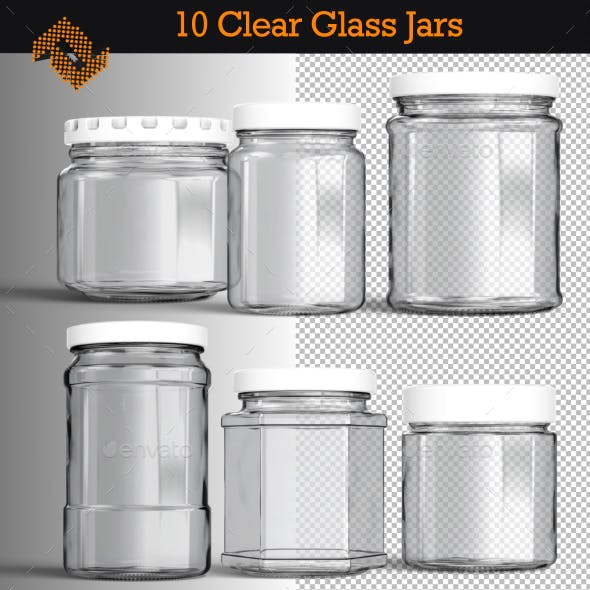 10 Isolated Clear Glass Jars
