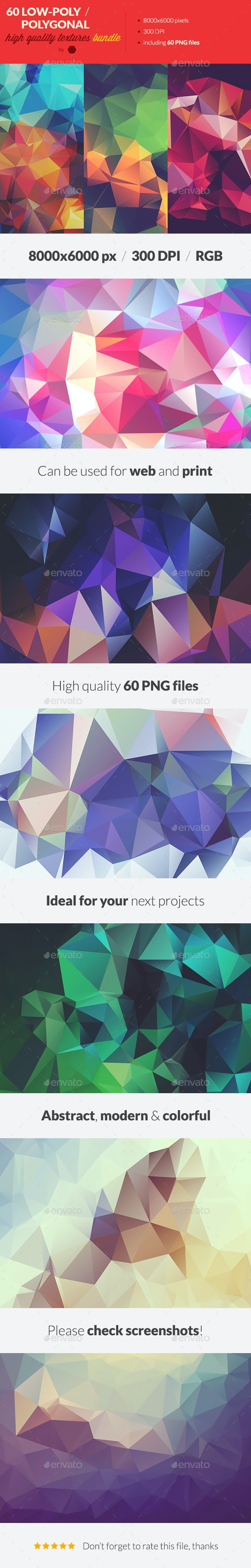 60 Low-Poly Polygonal Background Textures Bundle - Abstract Backgrounds