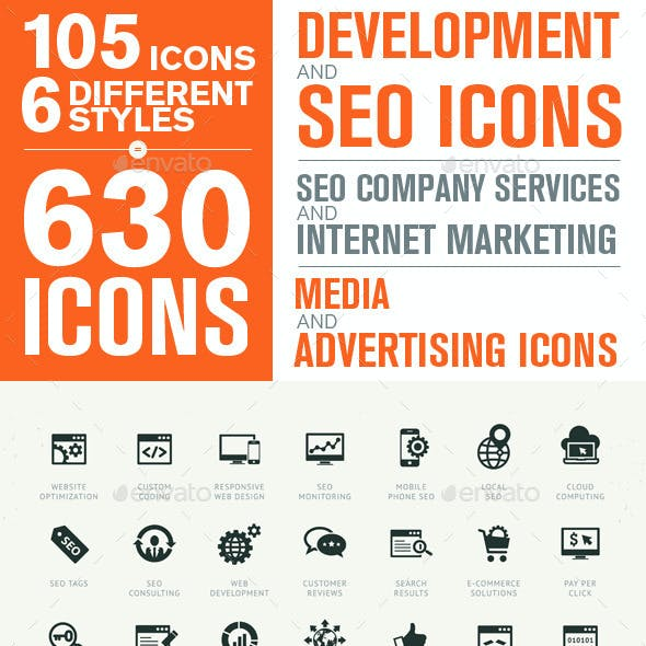 Set of Modern SEO Services Icons