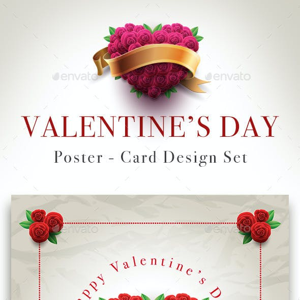 Valentine's Day Rose Heart Card Set