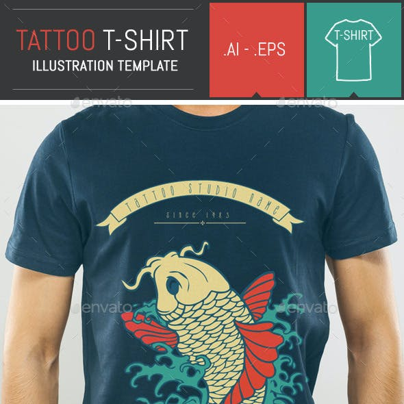 Carp Tattoo Vector Illustration T-Shirt Template