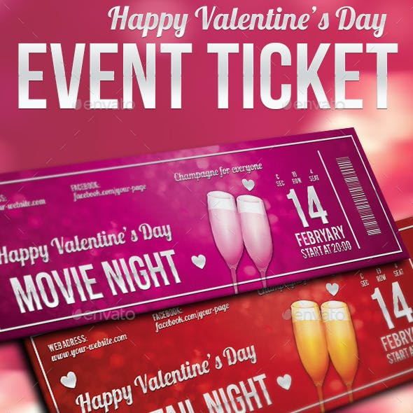 Valentines day multipurpose ticket template