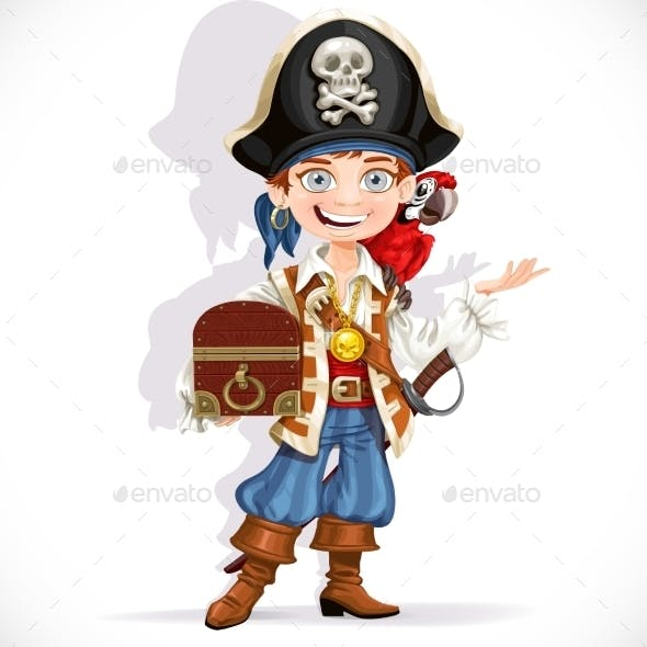 Pirate Boy with Red Parrot and Treasure