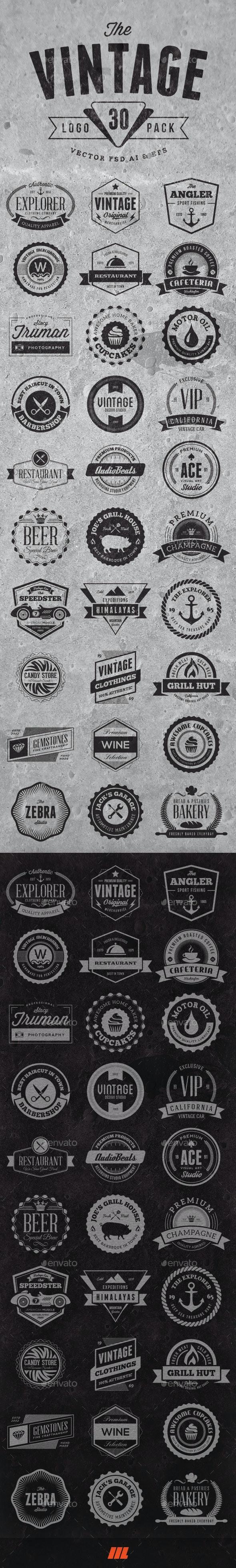 30 Vintage Logo Badges - Badges & Stickers Web Elements