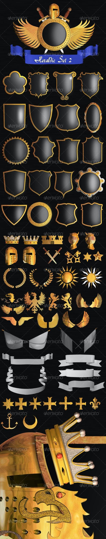 Heraldic Set II - Objects 3D Renders