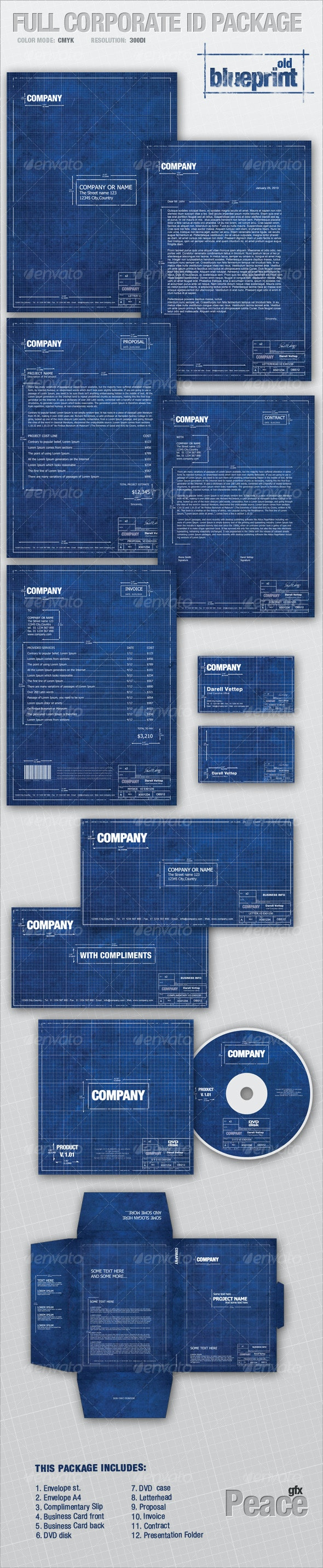 Full Corporate ID Package - old BLUEPRINT - Stationery Print Templates