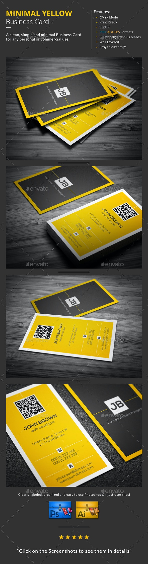 Minimal Yellow Business Card - Creative Business Cards