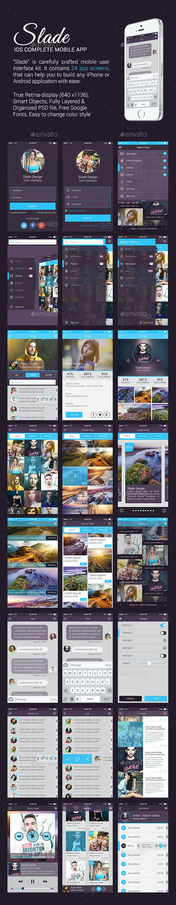Slade iOS Complete Mobile App - User Interfaces Web Elements