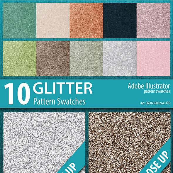 10 Luxury Glitter Pattern Swatches Vector