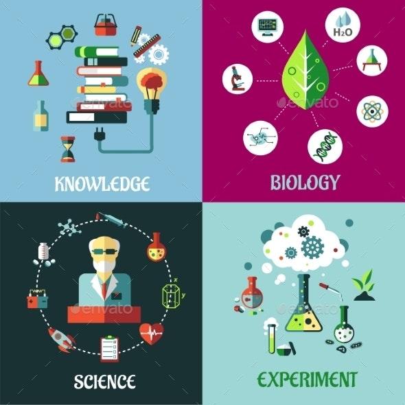 Science Experiment and Knowledge Concepts - Conceptual Vectors