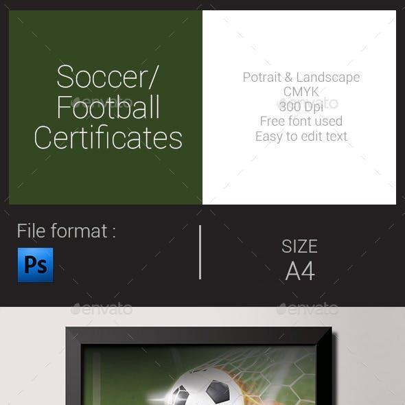 Soccer / Football Certificates