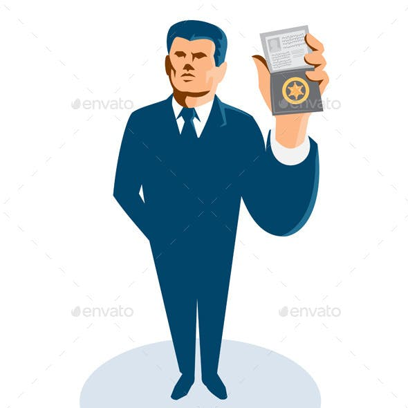 Businessman Secret Agent Showing ID Badge