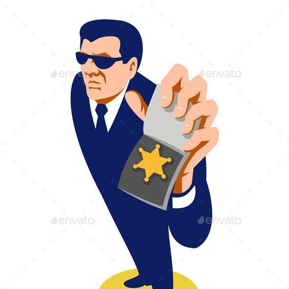 Secret Agent Showing ID Badge