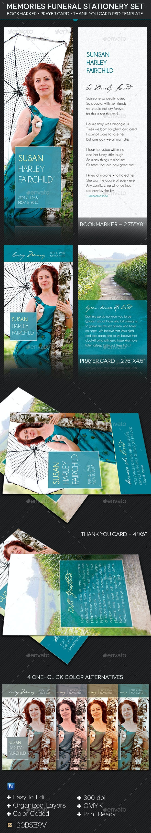 Memories Funeral Stationery Template Set - Stationery Print Templates