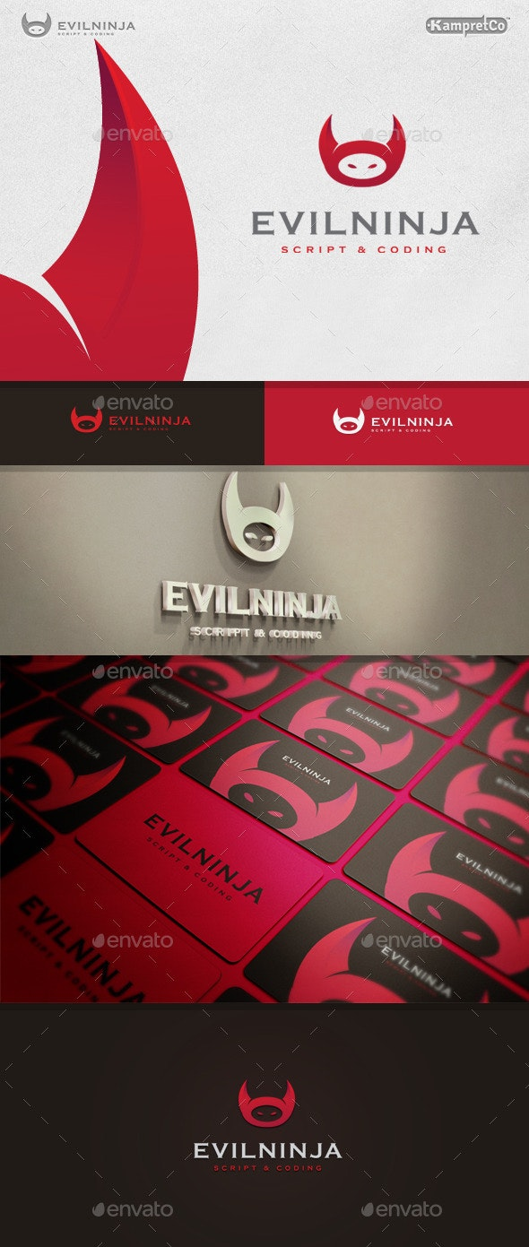 Evil Ninja Logo - Vector Abstract