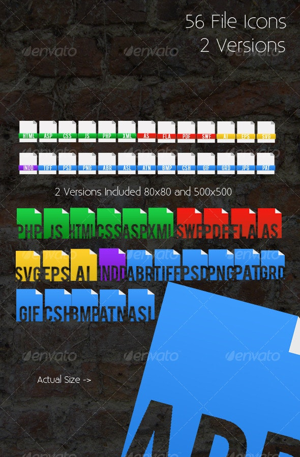 56 File Icons - 2 Versions Included! - Web Icons