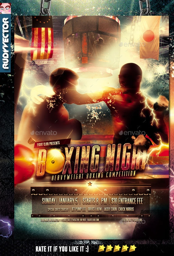 Boxing Fight Night Flyer Template - Sports Events