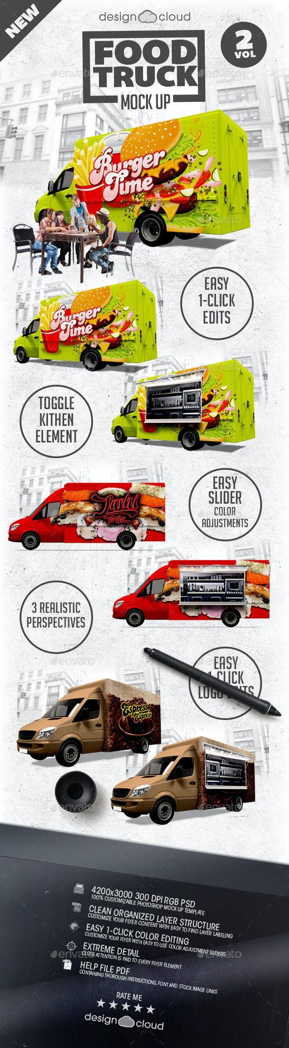 Food Truck Mock Up Kit Vol. 2 - Vehicle Wraps Print