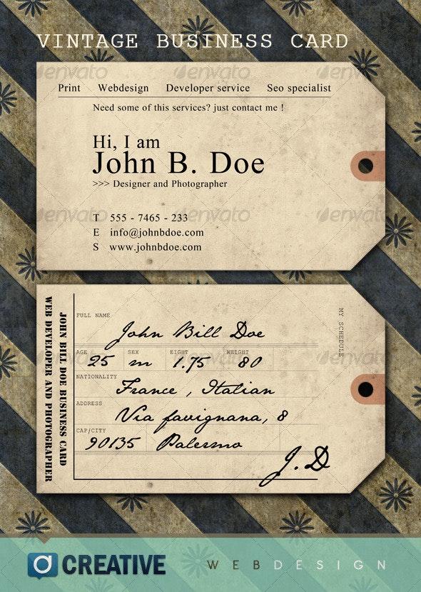 Vintage ticket Business Card - Retro/Vintage Business Cards