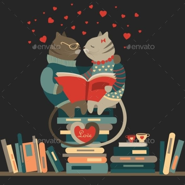 Cats Reading Book