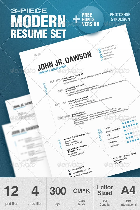 3-Piece Modern Resume Set - Resumes Stationery