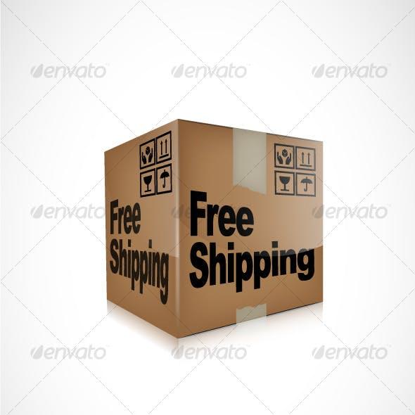 Vector Free Shipping Box Icon