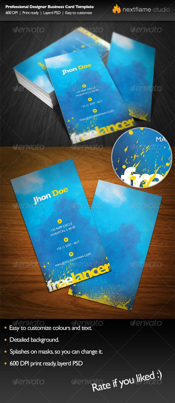 Professional Designer Business Card Template - Grunge Business Cards