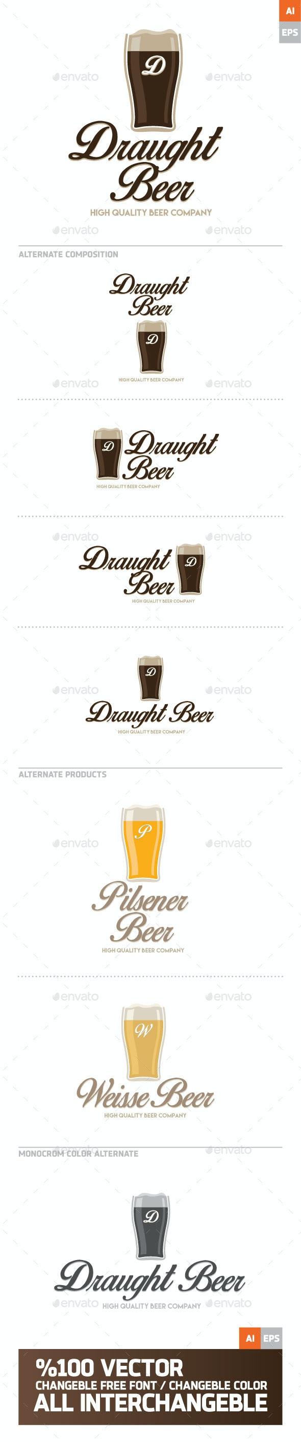 Draught Beer Logo - Food Logo Templates