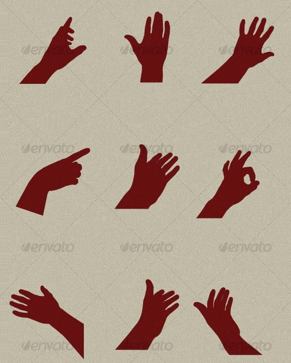 9 different Hands shapes - Miscellaneous Vectors