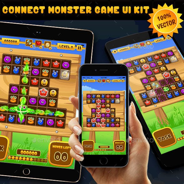 Connect Monster Puzzle Game UI Kit