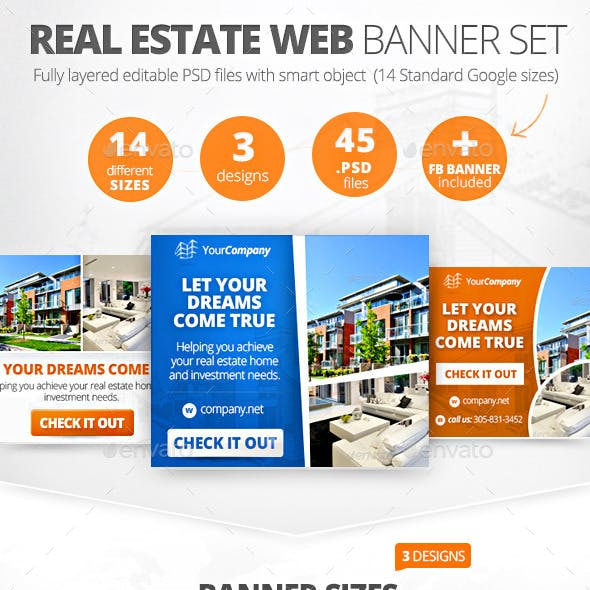 Real Estate Web Banner Set (45 PSD)