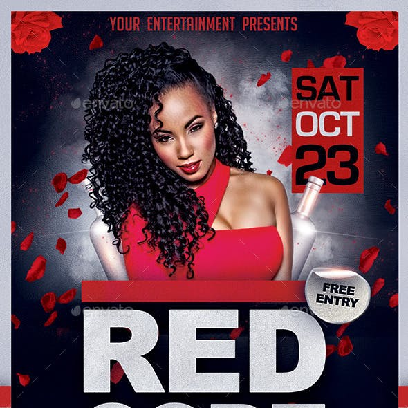 Red Code Night Party Flyer PSD Template