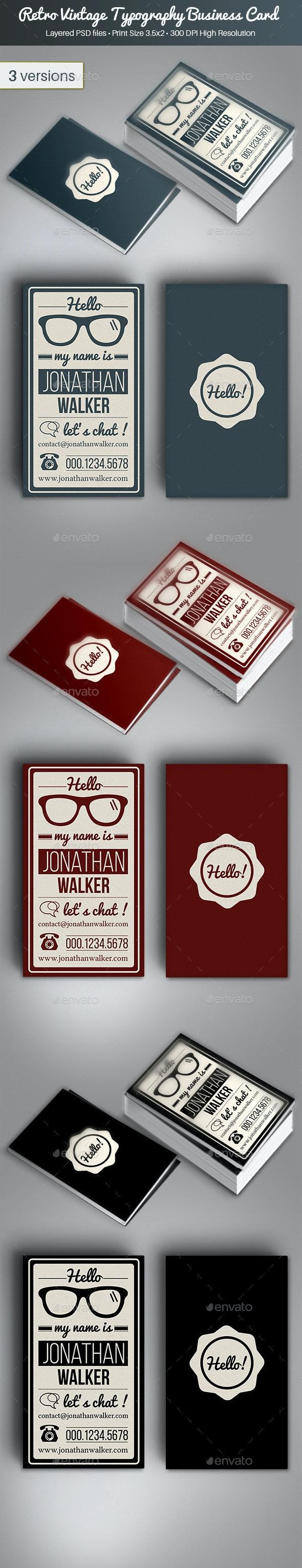 Retro Vintage Typography Business Card - Retro/Vintage Business Cards